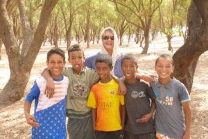 Lynn making friends in Morocco
